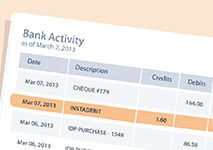 instadebit bank activity
