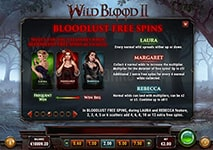 Wild Blood II Slot Winning Combinations and Jackpots