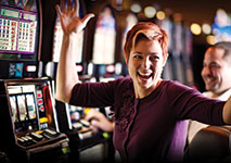 Woman Playing Slots