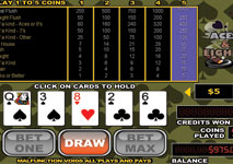Video Poker Aces and Eights Screenshot