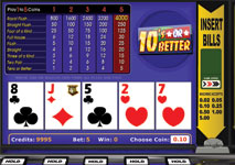 Video Poker Tens or Better Screenshot