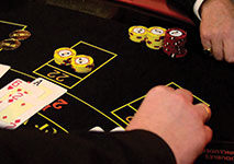 Blackjack Player Placing Bet