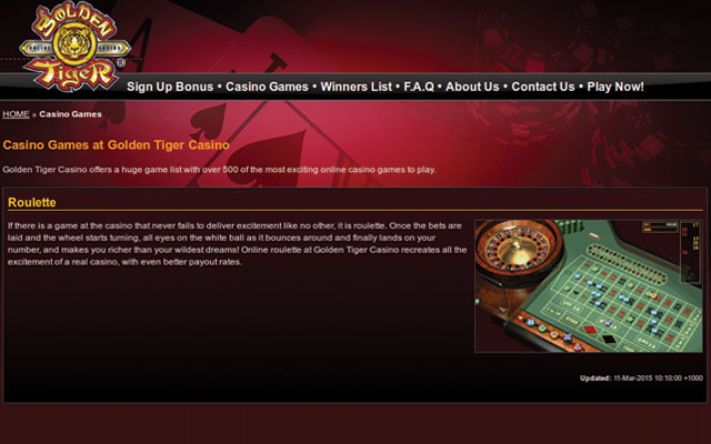 Casino Bonus Golden Tiger