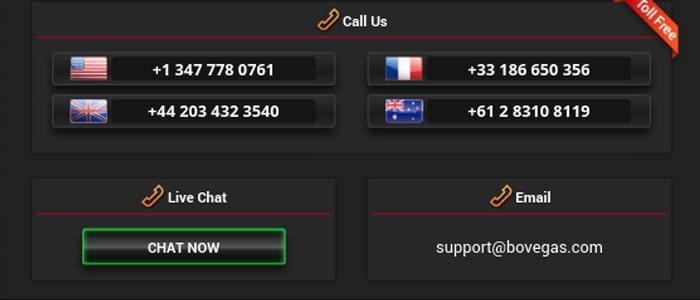 BoVegas Casino App Contact